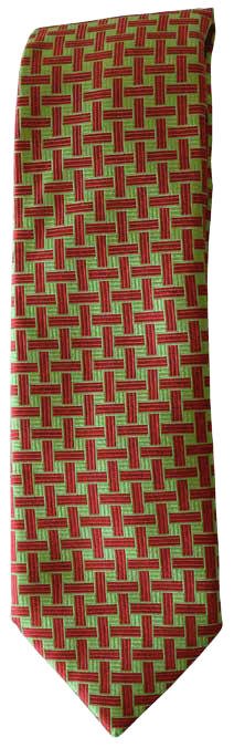 Hand Sewn - Italian Silk Tie - Green & Red Design