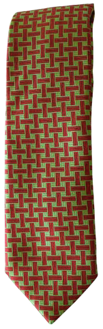 Italian silk ties hand sewn in Italy - Green & Red Design