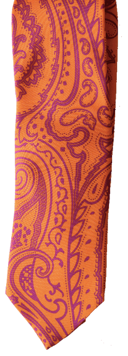 Hand Sewn - Italian Silk Tie - Bright Orange Paisley