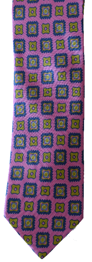 Italian silk ties hand sewn in Italy - Pink Blue & Green Pattern