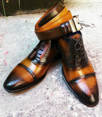 Tri-Tone Brown Brogue Captoe* - DV Clothiers - The Best Custom Mens Suits In Vancouver