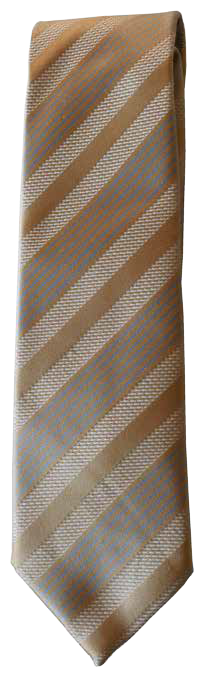 Italian silk ties hand sewn in Italy - Tan Brown & Blue Multistripe