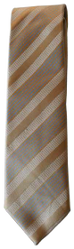 Hand Sewn - Italian Silk Tie - Tan Brown & Blue Multistripe