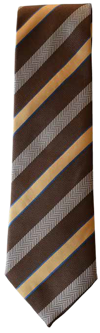 Italian silk ties hand sewn in Italy - Brown & Yellow Stripe