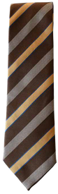 Hand Sewn - Italian Silk Tie - Brown & Yellow Stripe