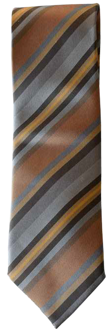 Hand Sewn - Italian Silk Tie - Multi Brown Stripe