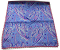 Italian Hand Sewn Pocket Square - Light Blue & Pink- Laced Edge Paisley