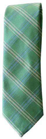 Italian silk ties hand sewn in Italy - Green Check