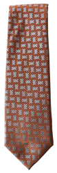 Hand Sewn - Italian Silk Tie - Orange Brown Pattern
