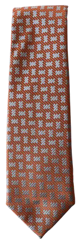 Italian silk ties hand sewn in Italy - Orange Brown Pattern