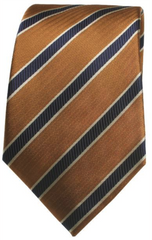 Brown & Blue Stripe Mulberry Silk Tie - DV Clothiers - The Best Custom Mens Suits In Vancouver