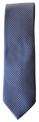 Italian silk ties hand sewn in Italy - Blue & Red Micro Pattern