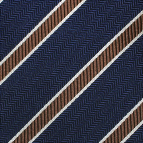 Blue & Brown Stripe Mulberry Silk Tie - DV Clothiers - The Best Custom Mens Suits In Vancouver