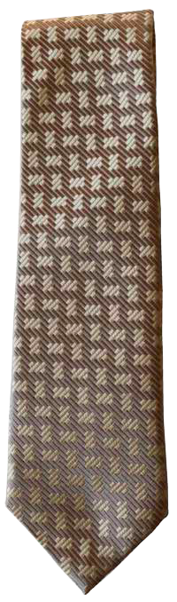 Hand Sewn - Italian Silk Tie - Brown Multi Pattern