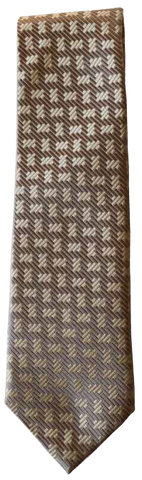 Italian silk ties hand sewn in Italy - Brown Multi Pattern