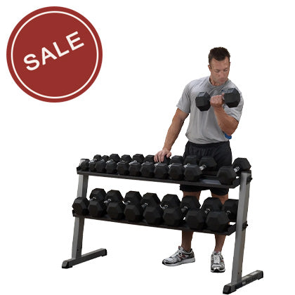 Body-Solid PRO Horizontal Dumbbell Rack- 60""