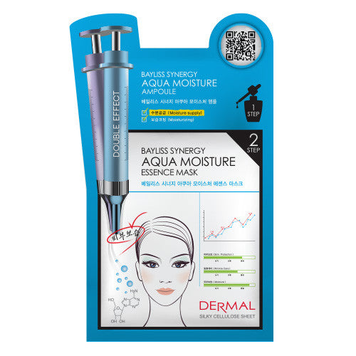 DERMAL BAYLISS SYNERGY 2 STEP MASK - AQUA MOISTURE - 1 BOX (5 sheets) - Dermal Cosmetics USA