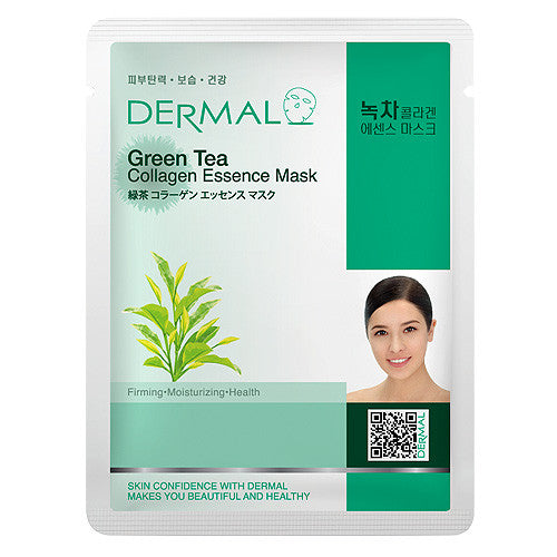 DERMAL COLLAGEN ESSENCE MASK - GREEN TEA - PACK (10CT) - Dermal Cosmetics USA