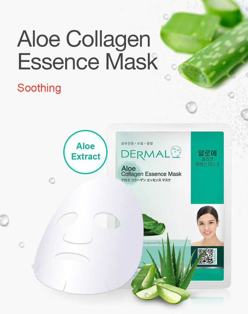 DERMAL COLLAGEN ESSENCE MASK - ALOE- PACK (10CT) - Dermal Cosmetics USA