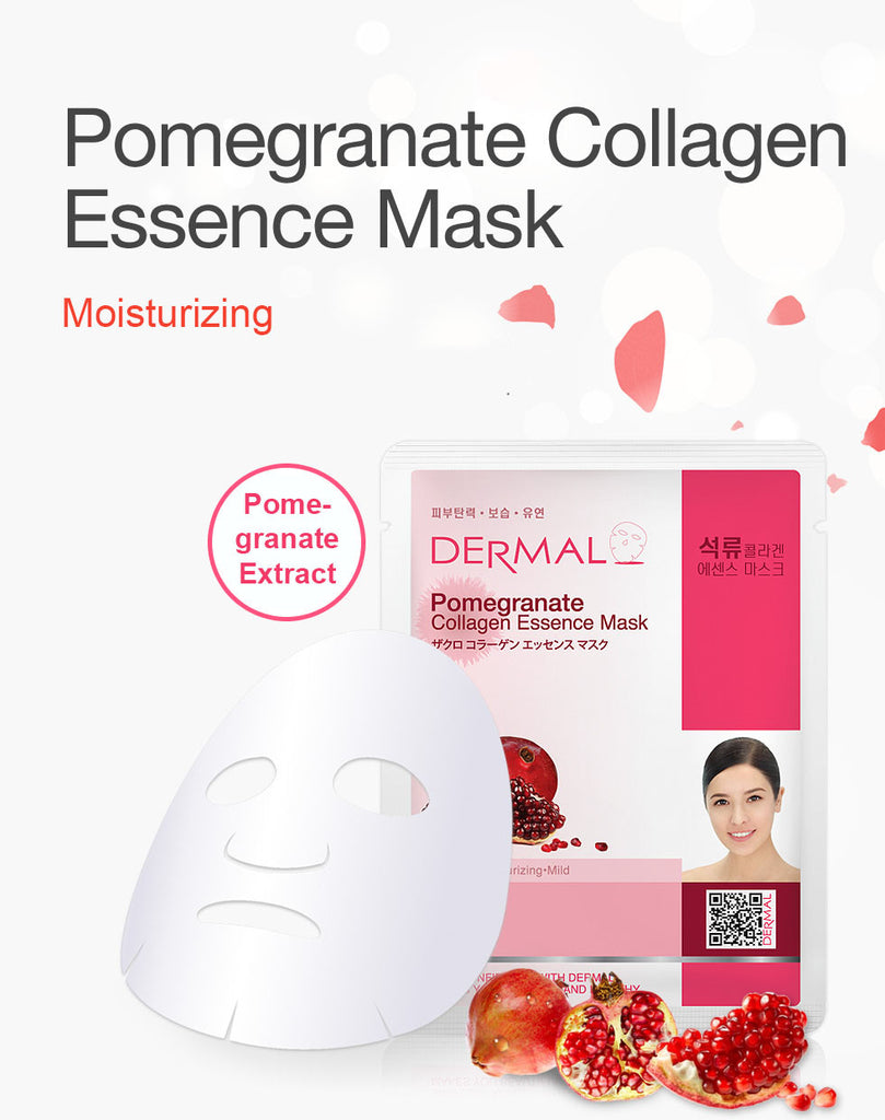 DERMAL COLLAGEN ESSENCE MASK - POMEGRANATE - PACK (10CT) - Dermal Cosmetics USA
