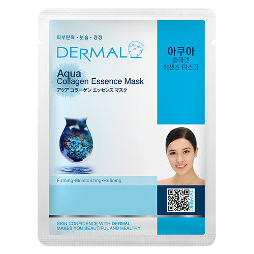 DERMAL COLLAGEN ESSENCE MASK - AQUA - PACK (10CT) - Dermal Cosmetics USA