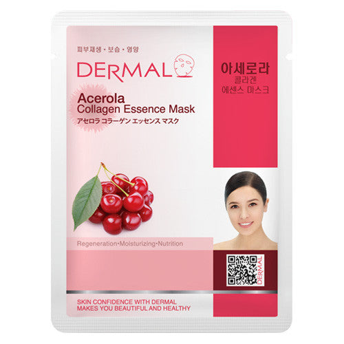 DERMAL COLLAGEN ESSENCE MASK - ACEROLA - PACK (10CT) - Dermal Cosmetics USA