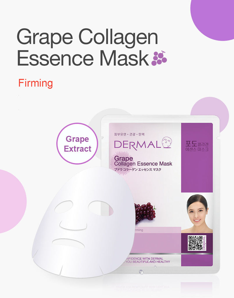 DERMAL COLLAGEN ESSENCE MASK - GRAPE - PACK (10CT) - Dermal Cosmetics USA