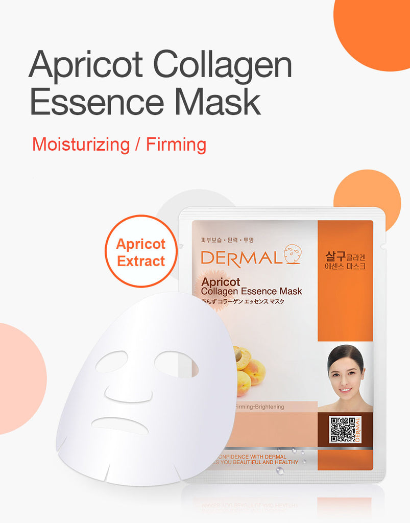 DERMAL COLLAGEN ESSENCE MASK - APRICOT - PACK (10CT) - Dermal Cosmetics USA