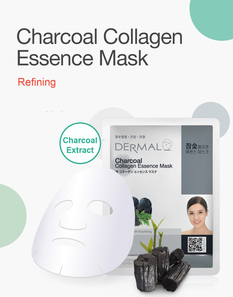 DERMAL COLLAGEN ESSENCE MASK - CHARCOAL - PACK (10CT) - Dermal Cosmetics USA