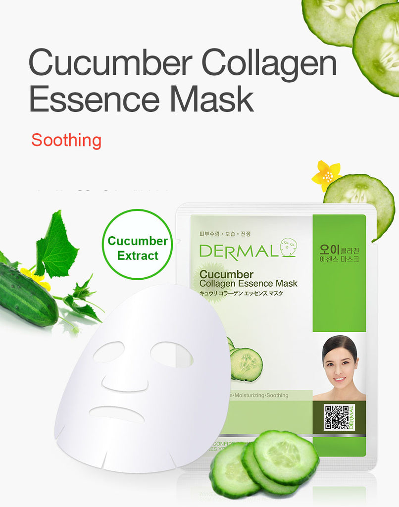 DERMAL COLLAGEN ESSENCE MASK - CUCUMBER - PACK (10CT) - Dermal Cosmetics USA