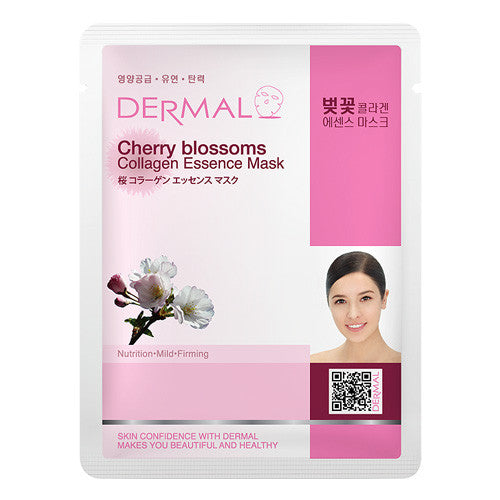 DERMAL COLLAGEN ESSENCE MASK - CHERRY BLOSSOMS - PACK (10CT) - Dermal Cosmetics USA