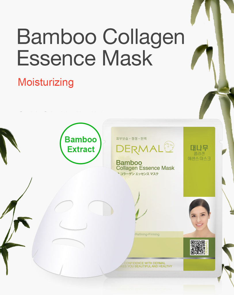 DERMAL COLLAGEN ESSENCE MASK - BAMBOO - PACK (10CT) - Dermal Cosmetics USA