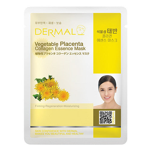 DERMAL COLLAGEN ESSENCE MASK - VEGETABLE PLACENTA - PACK (10CT) - Dermal Cosmetics USA