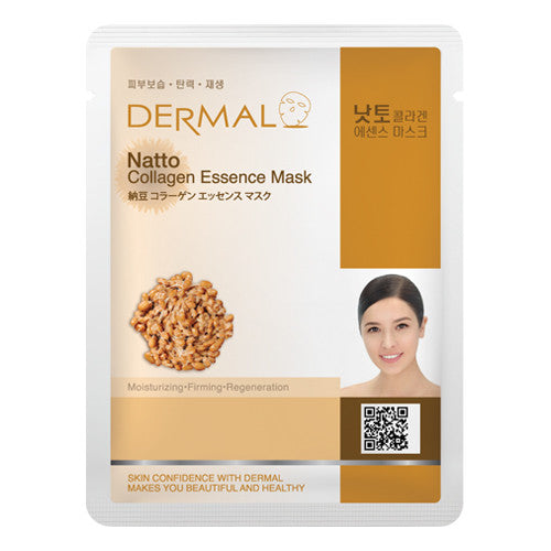 DERMAL COLLAGEN ESSENCE MASK - NATTO - PACK (10CT) - Dermal Cosmetics USA