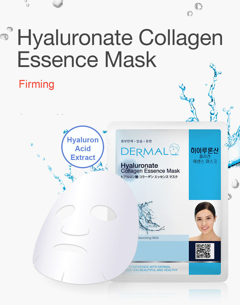DERMAL COLLAGEN ESSENCE MASK - HYALURONATE - PACK (10CT) - Dermal Cosmetics USA