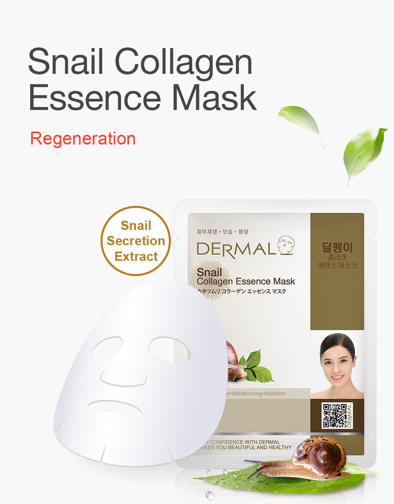 DERMAL COLLAGEN ESSENCE MASK - SNAIL - PACK (10CT) - Dermal Cosmetics USA