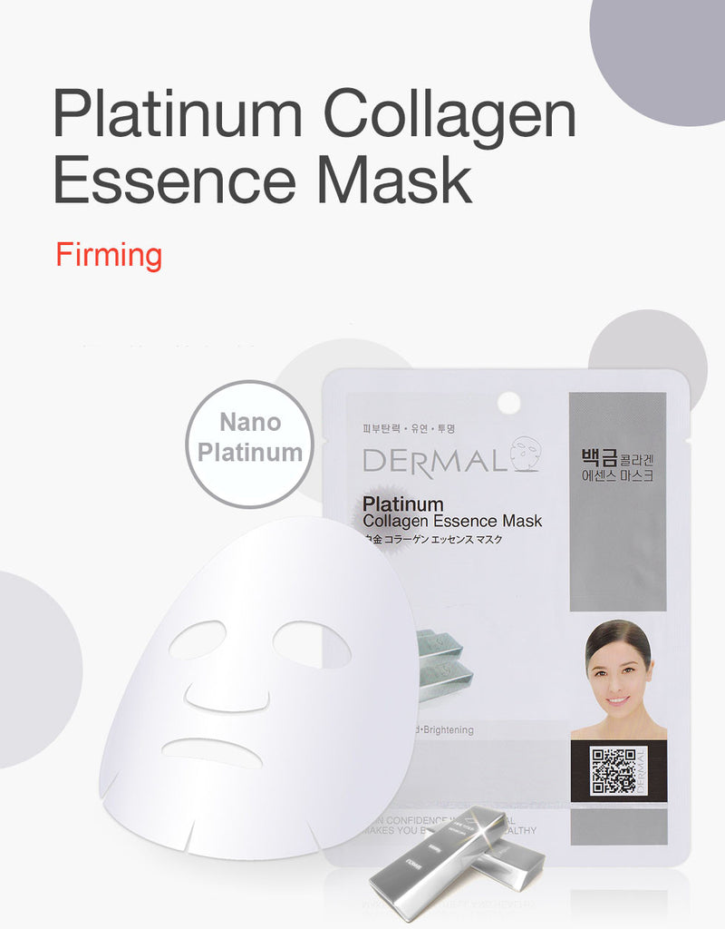 DERMAL COLLAGEN ESSENCE MASK - PLATINUM - PACK (10CT) - Dermal Cosmetics USA