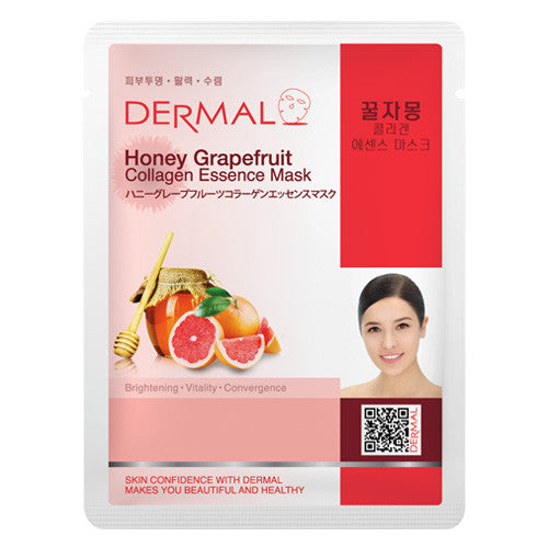 DERMAL COLLAGEN ESSENCE MASK - HONEY GRAPEFRUIT - PACK (10CT) - Dermal Cosmetics USA