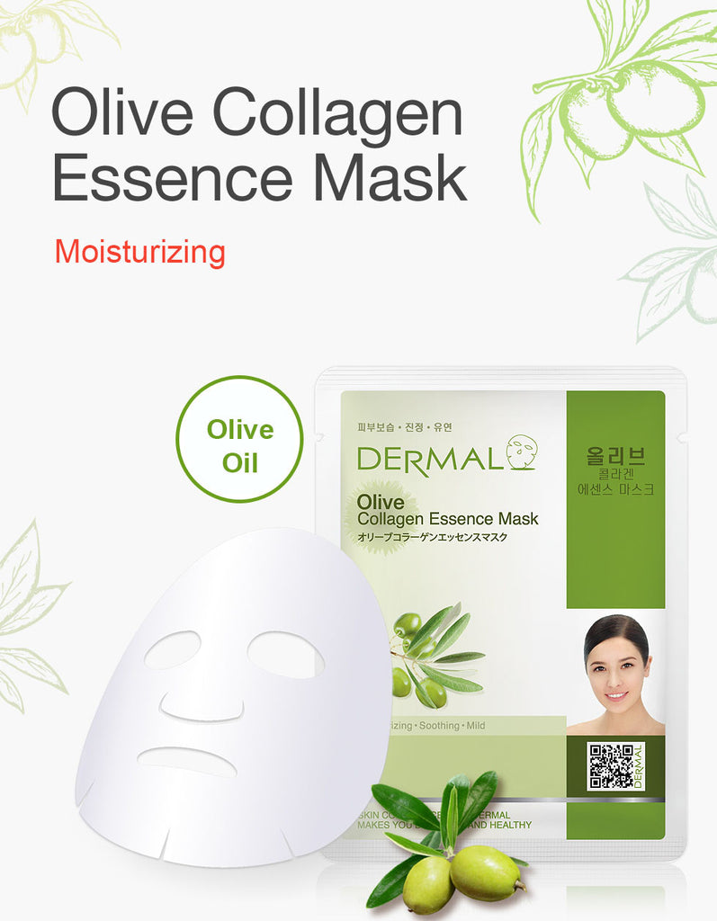 DERMAL COLLAGEN ESSENCE MASK - OLIVE - PACK (10CT) - Dermal Cosmetics USA