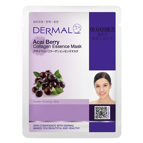 DERMAL COLLAGEN ESSENCE MASK - ACAI BERRY- PACK (10CT) - Dermal Cosmetics USA