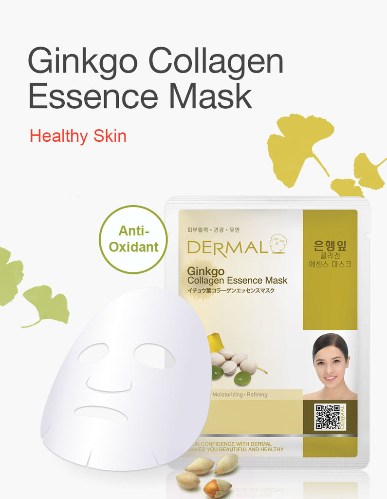 DERMAL COLLAGEN ESSENCE MASK - GINKGO -PACK (10CT) - Dermal Cosmetics USA