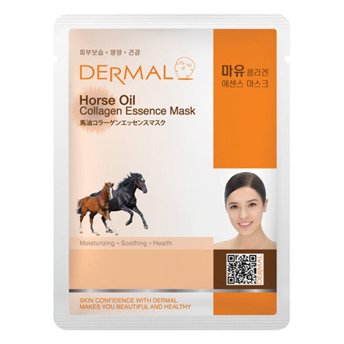 DERMAL COLLAGEN ESSENCE MASK - HORSE OIL - PACK (10CT) - Dermal Cosmetics USA