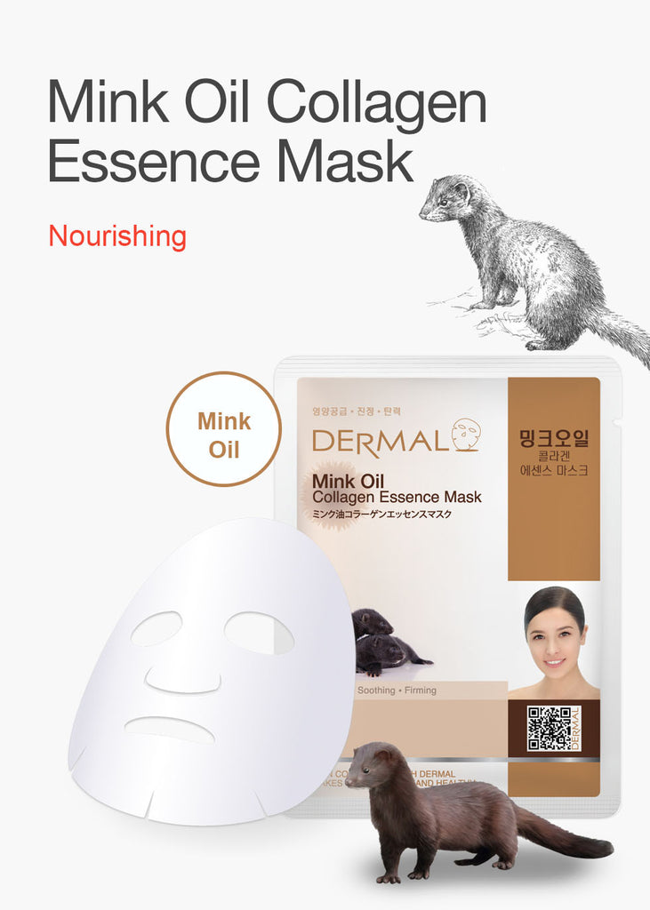 DERMAL COLLAGEN ESSENCE MASK - MINK OIL - PACK (10CT) - Dermal Cosmetics USA