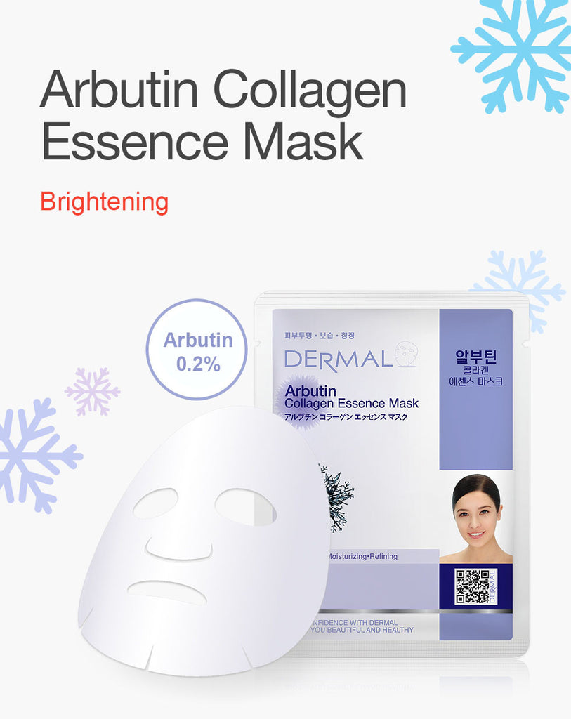 DERMAL COLLAGEN ESSENCE MASK - ARBUTIN - PACK (10CT) - Dermal Cosmetics USA