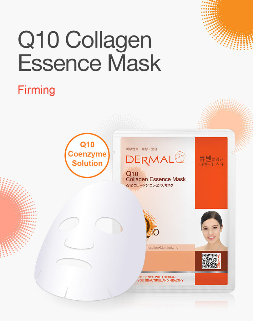 DERMAL COLLAGEN ESSENCE MASK - Q10 - PACK (10CT) - Dermal Cosmetics USA