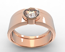 bezel ring set in rose gold and white moissanite