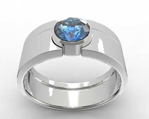 bezel ring set in sterling silver and blue sapphire