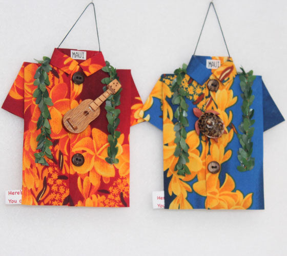 Asymmetric Lei Patterned Shirts Aloha
