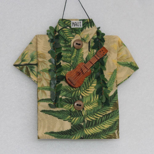 Cream shirt with green fern Aloha