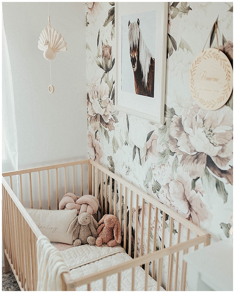 floral wallpaper, girls nursery, heirloom cushion